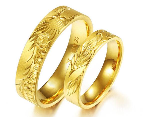 金大福珠宝黄金龙凤戒情侣对戒戒指