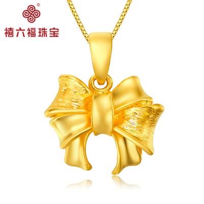 时尚可爱蝴蝶结黄金吊坠