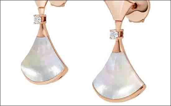 宝格丽珍珠白贝母钻石耳环