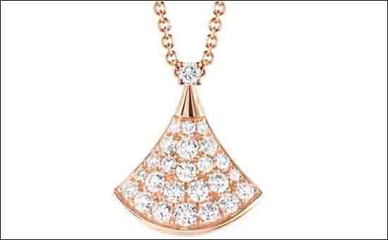 宝格丽密镶钻白金扇子项链