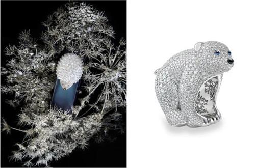 出自萧邦「动物世界」(ANIMAL WORLD)系列的刺猬造型时计及北极熊造型戒指