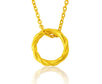 黄金首饰心环项链-中