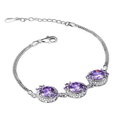 紫色迷情银饰手链