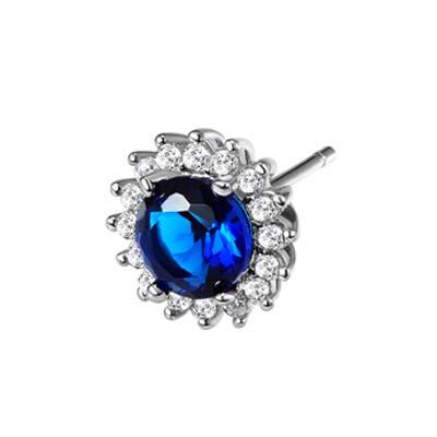 戴梦妮银饰-蓝色耳环