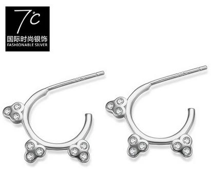 七度银饰-光环银耳钉