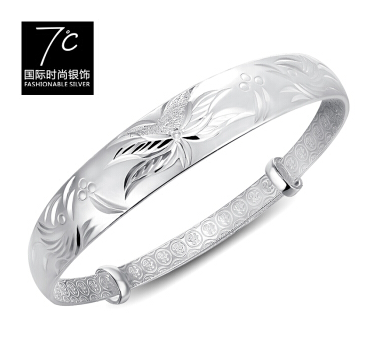 7度银饰-青莲龙凤银手