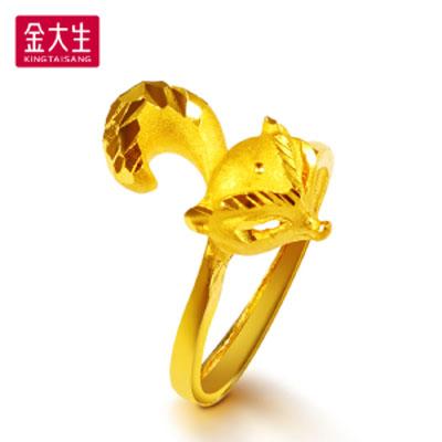 狐狸时尚黄金戒指