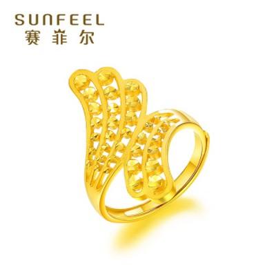 雀尾黄金时尚戒指