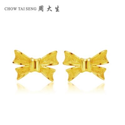 蝴蝶结黄金耳环